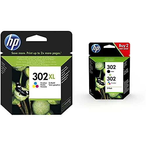 HP F6U67AE 302XL Cartucho de Tinta Original de Alto Rendimiento, 1 Unidad, Tricolor + 302 X4D37AE, Pack de 2, Cartuchos de Tinta Originales Negro y Tricolor