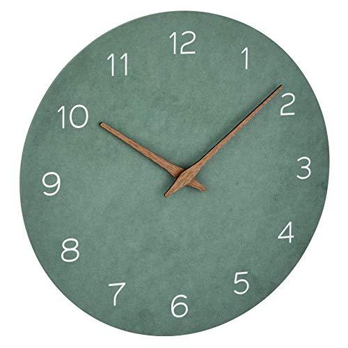 TFA Dostmann Reloj de Pared analógico, 60.3054.04, Efecto Madera, Movimiento de Cuarzo con batería de Larga duración, Verde Jade, Fibra de Madera DM, 297 x 45 x 297 mm