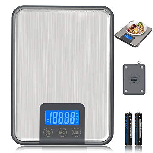 ADORIC 15 kg, Küchenwaage, 15 kg, mit LCD-Display für die Küche aus Edelstahl, multifunktional, silberfarben (2 Batterien enthalten)