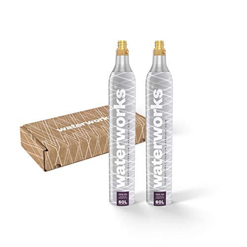 waterworks 2 x Silver CO2-Zylinder I Geeignet für SodaStream u.v.a Wassersprudler I Für bis zu 60 L pro Füllung I Kostenfreier Rückversand bei Zylindertausch