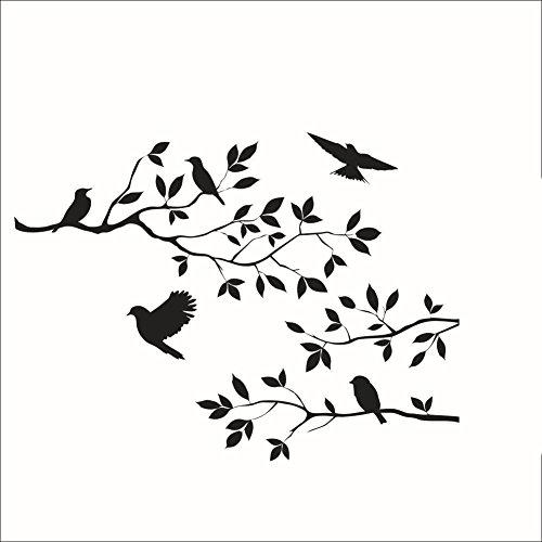 Stonges Baum Zweige Vögel Wandaufkleber Removable Vinyl Schlafzimmer Wohnzimmer Kunstwand Schwarz Wandtattoo Dekoration