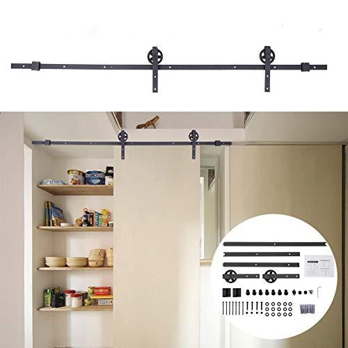Sistema de puerta corredera, color negro, juego de herrajes para puerta corredera, kit de hardware para armarios, capacidad de carga 150 kg