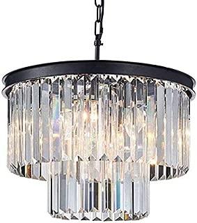 Saint Mossi Modern K9 Crystal Raindrop Chandelier Lighting Flush Mount LED Ceiling Light Fixture Pendant Lamp for Dining Room Bathroom Bedroom Livingroom 6 E12 Bulbs Required H14