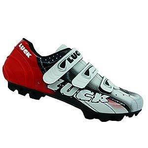 LUCK Zapatillas de Ciclismo Extreme 3.0 MTB,con Suela de Carbono y Triple Tira de Velcro de sujeción ademas de Puntera de Refuerzo. (39 EU, Rojo)