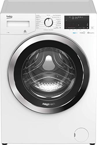 Beko WMY91466AQ Waschmaschine/ Touch-Display mit Startzeitvorwahl 0-24 H/ 1400 U/min/ AQUATECH/ XL-Chromtür/ Bluetooth/Dampffunktion/Watersafe+/A+++/9 kg