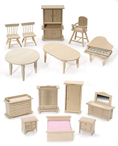 Darice Mini Furniture: Pine Wood, Styles Assorted, 1 Piece, Multicolor
