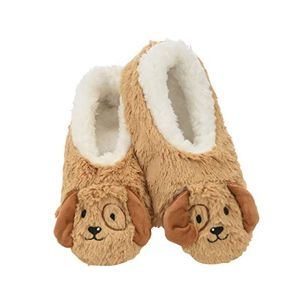 Snoozies Womens Slippers Furry Foot Pals – Animal Slippers for Women – Puppy