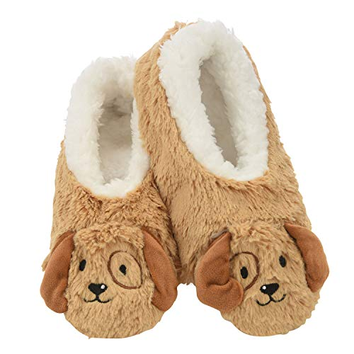 Snoozies Womens Slippers Animal Furry Foot Pals -Puppy w White Lining - Large