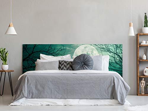 Oedim Cabecero Cama PVC Spooky Bosque con Luna Llena | 150x60cm | Cabecero Ligero, Elegante, Resistente y Económico