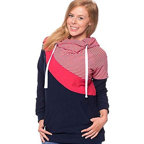 Beiersi Damen Stillshirt Umstandsmode Kapuzenpullover Schwanger T-Shirt Umstandsshirt Stilltop Stillpulli Umstandstop Schwangere Sweatshirts Langarmshirt Hoodie (L, Rot)