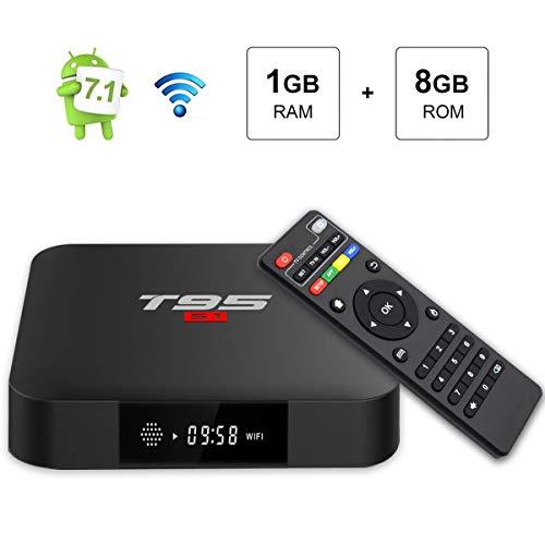 TV Box Android 7.1, Android Box 1GB RAM 8GB ROM, T95 S1 Amlogic S905W Quad Core Smart TV Box Unterstützung 2.4GHz WiFi 3D 4K HDMI H.265 Media Player