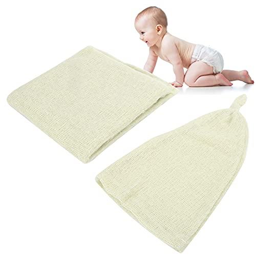 Annadue Accessoires de Photographie pour bébé Nouveau-né, Chapeaux de Photos pour bébés(Light Green, Hat+Wrap)
