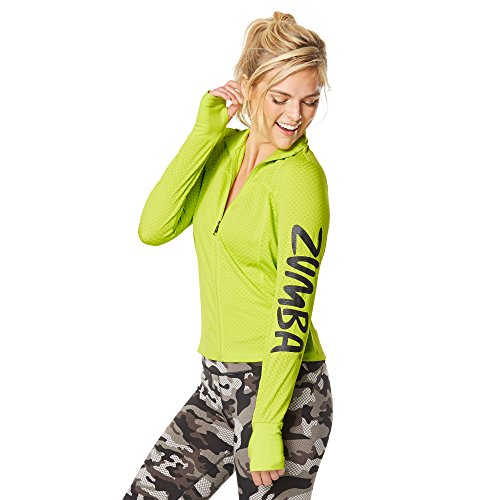 Zumba Fitness Donâ€t Mesh with Me Zip Up Sudadera, Mujer, Verde, XL