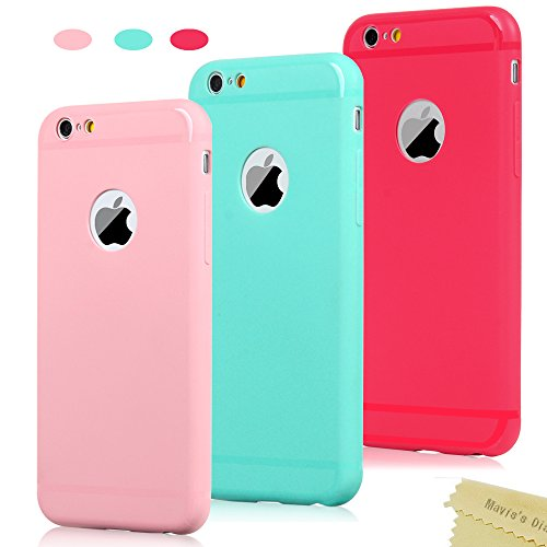 3x Cover iPhone 6, iPhone 6s Custodia Silicone Satinate Opaco Ultra Sottile - Mavis's Diary Case Gomma Antiscivolo Satinata TPU Morbido Protettiva Cassa Bumper - (Menta verde, Rosso, Rosa chiaro)