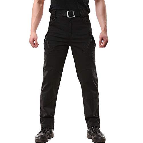 FEDTOSING Cargohose Herren Vintage Militär Tactical Hosen mit Stretch Arbeitshose Outdoor Viele Taschen Leichte Baumwolle Black 36x34