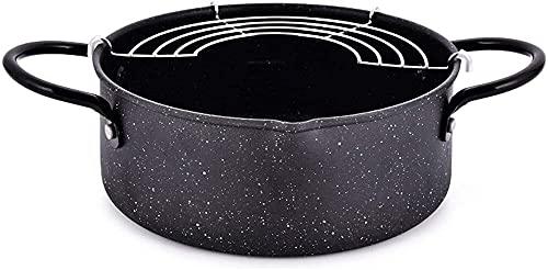 Tempura Deep Fryer - Recipiente para el hogar, ahorro de aceite, tamaño mini, engrosado, piedra Maifan no bastón, cocina de inducción universal