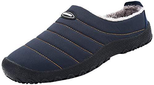 Saguaro Herren Damen Winter Hausschuhe Plüsch Warm Gefütterte Schneestiefel Slippers Outdoor Freizeit Schuhe, Blau 46