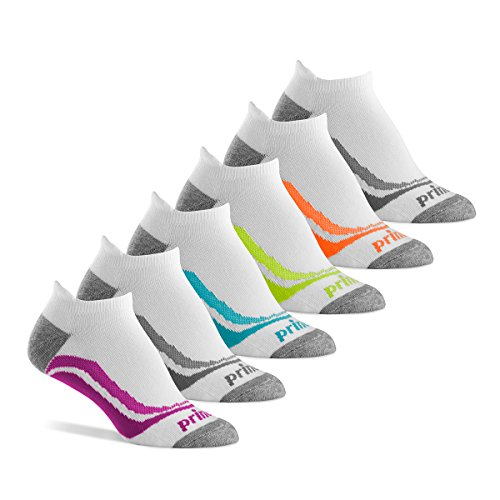 Prince Women's Tab Performance Athletic Socks for Running, Tennis, and Casual Use (6 Pair Pack) (Women's Shoe Size 6-10 (US), White)