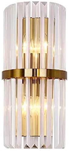 Luces de pared industriales, Modern Crystal Dormitorio Iluminación Lámpara de Pared Lámpara de Pared Sconence Luz Cepillada Cepillado Acabado Dorado 17.7 pulgadas Cilíndrica Cylindrical Shade E14 Hard