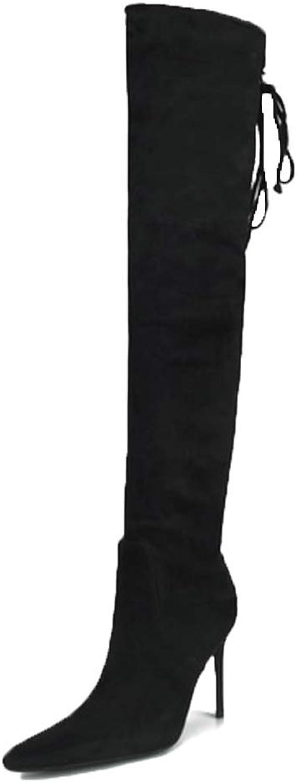 LIURUIJIA Women's Thigh High Stretch Boot High Heel shoes Over The Knee Pullon Boot GQX4-XJX08-R