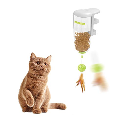 All for Paws Interactive Cat Feather Ball Treat Toy, Cat Food Dispenser Toys