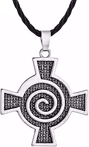 NC110 Necklace Gothic Necklace for Kids Teens Hiphop Style Celtic Spiral Swirl Cross Pendant Necklace Leather Chain Necklace Gift