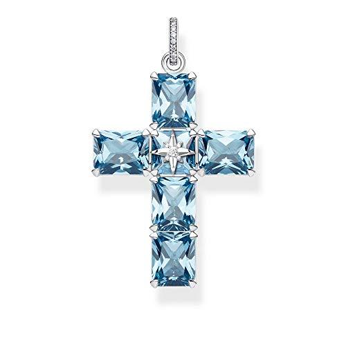 THOMAS SABO Anhänger Kreuz große Blaue Steine mit Stern, PE880-644-1, 5.2