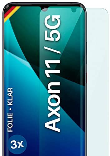 moex Klare Schutzfolie kompatibel mit ZTE Axon 11 / Axon 11 5G - Bildschirmfolie kristallklar, HD Bildschirmschutz, dünne Kratzfeste Folie, 3X Stück