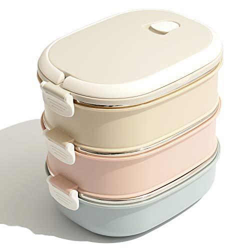 Fiambrera Térmico de Acero Inoxidable - Lunch Box Portátil con Mango para Comida, Caja de Almacenamiento para Alimentos de Oficina, Ideal para Adultos, Hombre, Mujer (3 Tier)
