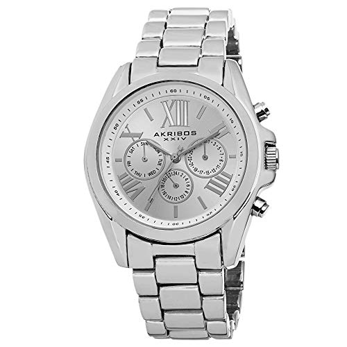 Akribos XXIV Women's 'Ultimate Swiss Multifunction Watch - 3 Subdials, Day, Date and GMT On Stainless Steel Bracelet - AK693