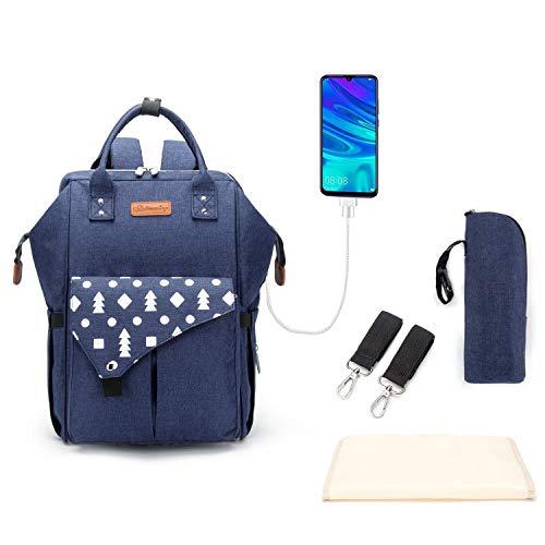 Multifunción pañal bolsa de pañales cambiador de viaje, gran capacidad mochila bolsa reutilizable, ligero elegante Durable Mochila con bolsillo botella aislante para mamá y papá (Blue Large USB)