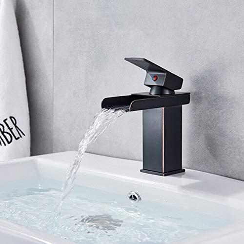 BDWS Grifo de lavabo dorado para baño, caño en cascada, grifo para fregadero de agua, grifo de una manija, agua fría y caliente, orbe A de CHINA
