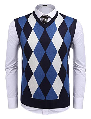 Coofandy Men's Casual Slim Fit V-neck Rhombus Business Knitwear Sweater Vest Navy Blue X-Large