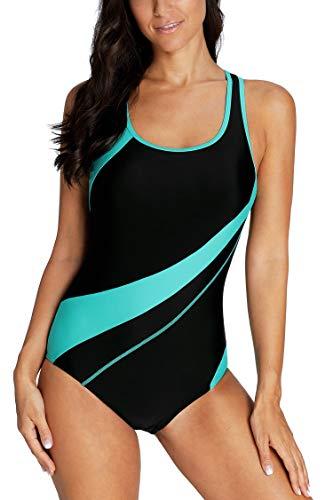 Anwell Damen Badeanzug im sportlichen Look von Aqua bis Schwarz XXL