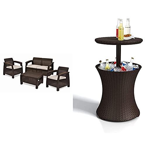 Keter Set Corfu Lounge Conjunto De Jardín, Marrón, 76X170X58 Cm + Pacific Cool Bar - Mesa Nevera para Jardín, Color Marrón