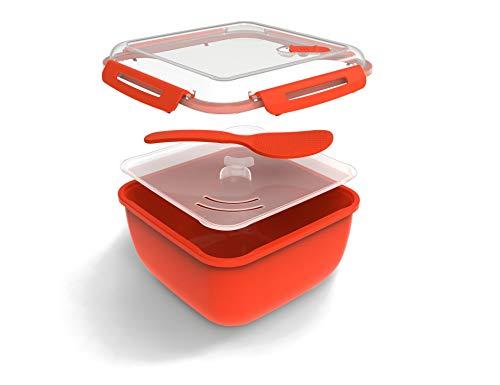 Rotho Memory Microwave Reiskocher 2.5 l, Kunststoff (BPA-frei), rot, 2,5 Liter (19,5 x 19,5 x 12,1 cm)