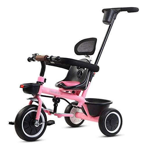 CHENXU Bicicleta para Niños y Niñas Triciclos niños, Mini Triciclo niños con la manija de Empuje, 2 en 1 Steer Cochecito Plegable, Aprendizaje Bicicletas, Cesta del almacenaje, Bell, Ruedas Durable