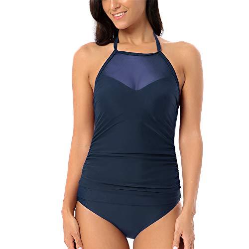 Yczx Damen Schlankheits Gaze Badeanzüge Bikini Mehrfarbig Hoher Kragen Strandmode Netz Badeanzug für Frauen Bauchkontrolle Bademode hoher Halsausschnitt Badeanzug Zwei Sets XXL