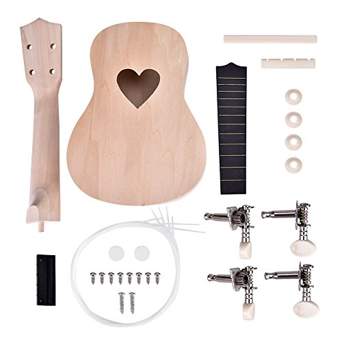 Ukulele DIY Kit, Make Your Own 21 Inch Ukulele Basswood 4 String Ukulele Make Set(Heart)