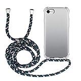 MyGadget Funda Transparente con Cordón para Apple iPhone 7/8 / SE 2020 - Carcasa Cuerda Esquinas Reforzadas en Silicona TPU - Case Correa - Negro Camuflaje