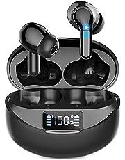 【2021業界登場 Bluetooth イヤホン&LEDディスプレイ残量表示】ワイヤレスイヤホン Ennice Bluetooth5.1+EDR搭載 Type‐C急速充電 ブルートゥース イヤホン 36時間再生 AAC/SBC対応 自動ペアリング記憶 瞬時接続 ぶるーとーすイヤホン 快適な装着感 片耳/両耳 左右分離型 音量調整 ハンズフリー通話 マイク内蔵 Siri対応 小型/軽量 (ブラック)