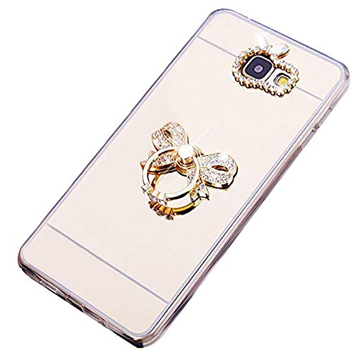 Specchio Custodia Compatibile con Galaxy S6EDGE PLUS,Ekakashop Glitter Sparkle Custodia morbida silicone GUSCIO strass custodia Cellulare cover con anello Compatibile Gold Bowknot Galaxy S6 Edge Plus