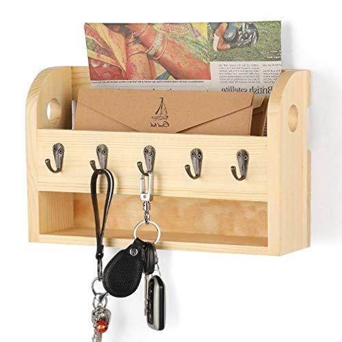 Organizador de Correo de Madera y Llavero montado en la Pared con 5 Ganchos para Cocina de Oficina en casa, Color de Madera Natural