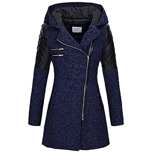 ReooLy Warme dünne Jacke der Frauen starker Mantelreißverschluß mit Kapuze langärmliges nähendes Hemd Wollmantel mit Kapuze Reißverschlußmantel(Marine/X-Large)