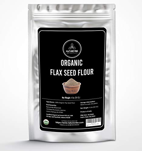 Naturevibe Botanicals Organic Flax Seed Flour, 4lbs | Certified Organic, Non-GMO and Gluten Free (64 Ounces) | Skincare and Haircare