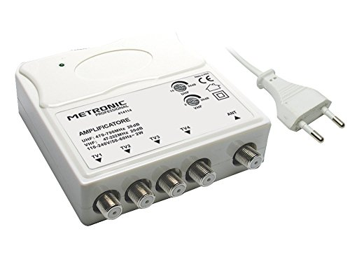 Metronic 414114 Amplificatore TV Vhf Uhf per Digitale Terrestre con Filtro Lte, Vhf 20Db Regolabili, Uhf 28Db Regolabili, 1 Ingresso 4 Uscite, da Interno, Bianco