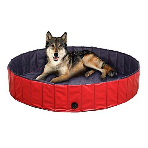 FEMOR Hundepool Swimmingpool Für Hunde und Katzen Schwimmbecken Hund Planschbecken Hundebadewanne Faltbarer Pool mit PVC-Rutschfest Verschleißfest Für Kinder Hund Katze Geschenk(120*30cm)