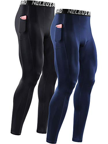 Neleus Men's 2 Pack Dry Fit Compression Pants Running Tights with Pocket,6069,Black/Navy Blue,US XL,EU 2XL