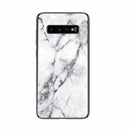 Miagon Galaxy S10 Glas Handyhülle,Marmor Serie 9H Panzerglas Rückseite mit Weicher Silikon Rahmen Kratzresistent Bumper Hülle für Samsung Galaxy S10,Weiß