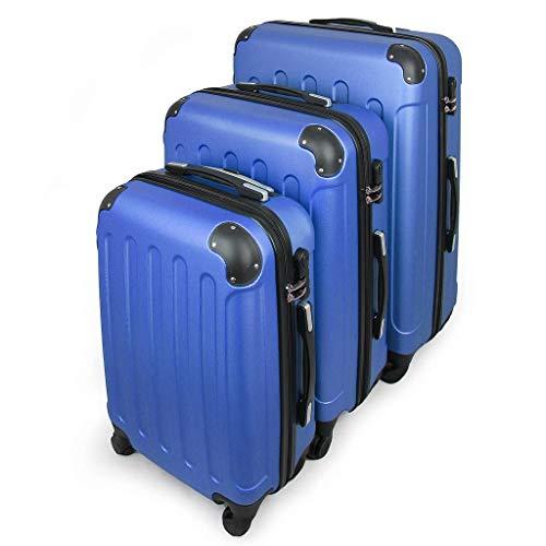 Todeco - Set Di Valigie, Valigie Da Viaggio - Materiale: Plastica ABS - Tipologia ruote: 4-ruote con 360° di rotazione - Angoli protettivi, 51 61 71 cm, Blu, ABS